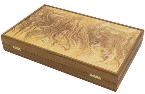 Manopoulos Luxury Olive Wood Burl Backgammon set  - Deluxe Backgammon
